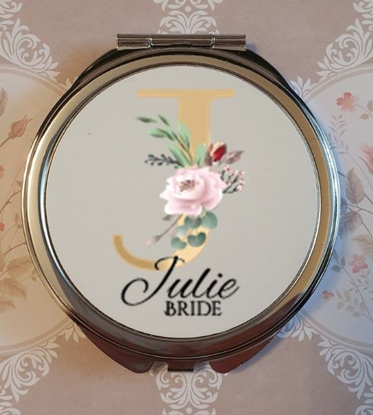 Personalised Wedding Compact Mirror - Design 6